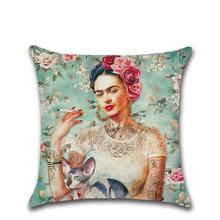 Amazon Ebay Cheap Pillow Case Mexican Painter Slipcover Woman's Self-Portrait Avatar Decorative Cushion Cover