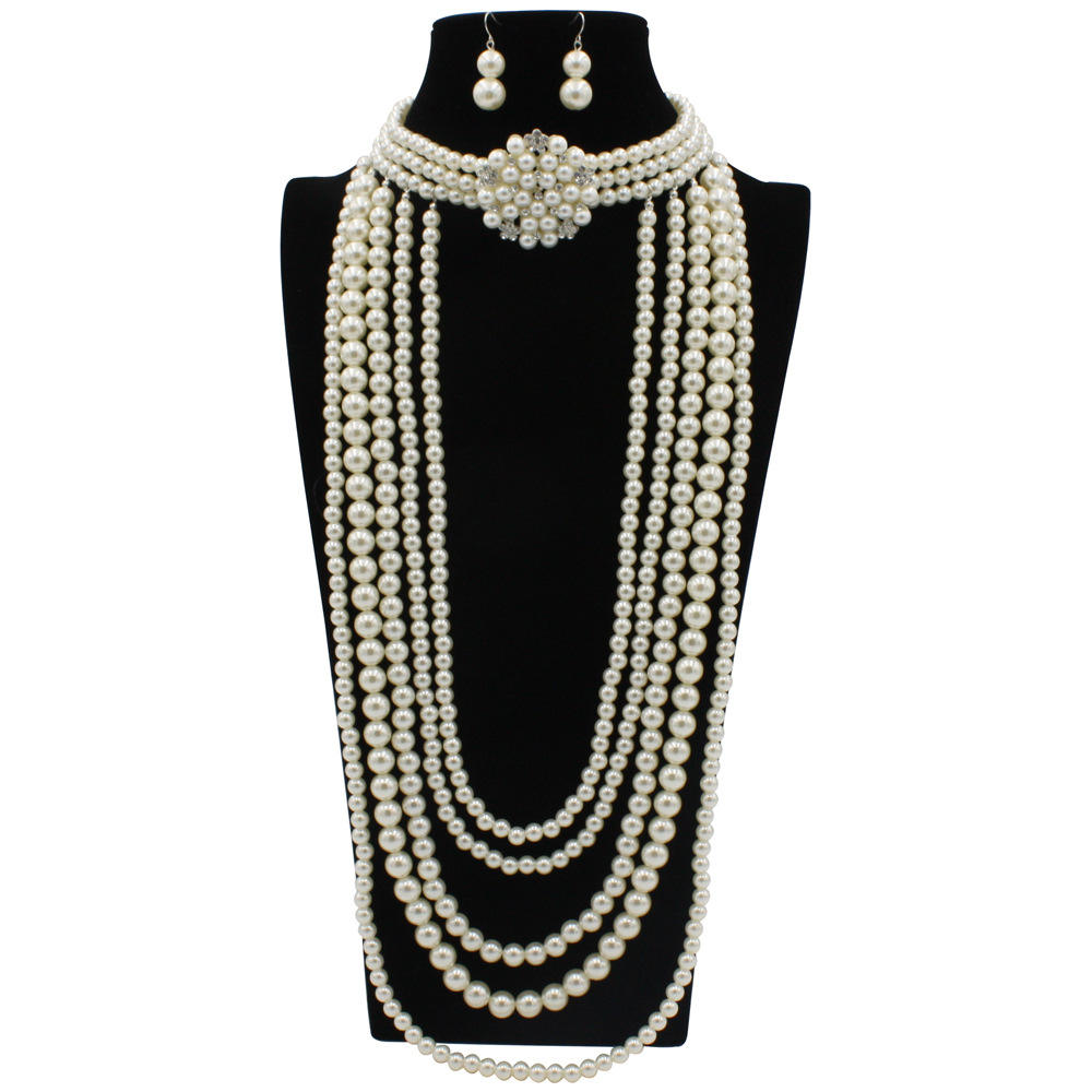 Fashion pearls jewelry sets customize pearls jewelry set multi layer pearls Necklace and earrings set T8390