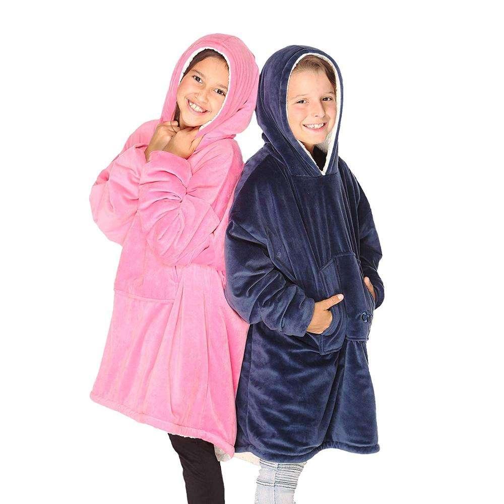 슈퍼 부드러운 따뜻한 아늑한 Wearable Sherpa 까마귀 성인과, 가역, 후드 및 대형 포켓 대형 스웨터 담요