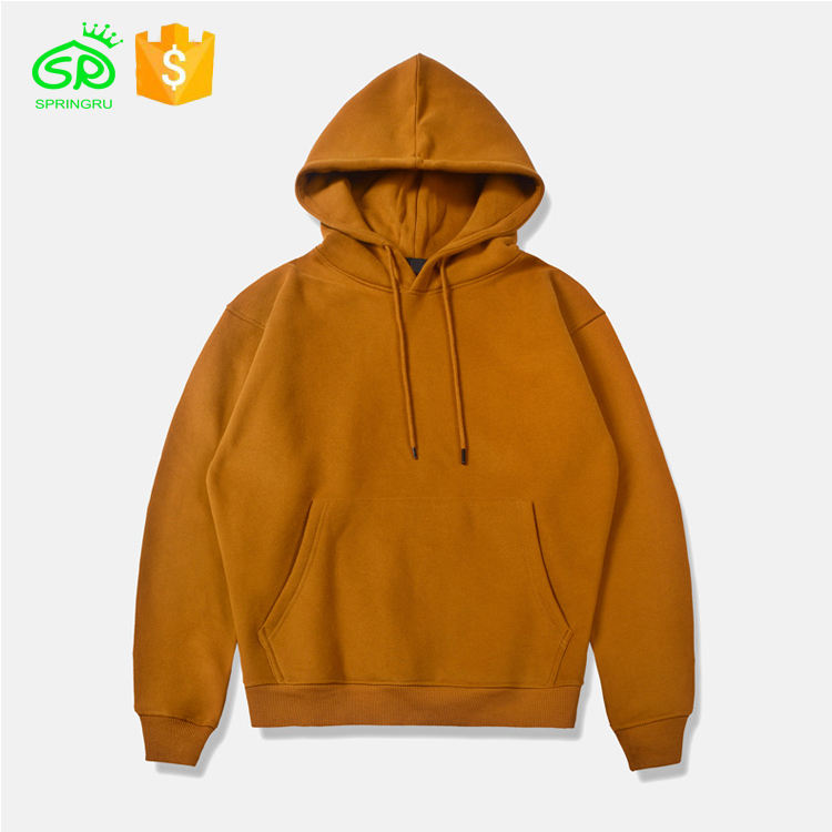 Custom Fit Men Fashion Hoodies Deep Yellow Cotton Hoodies