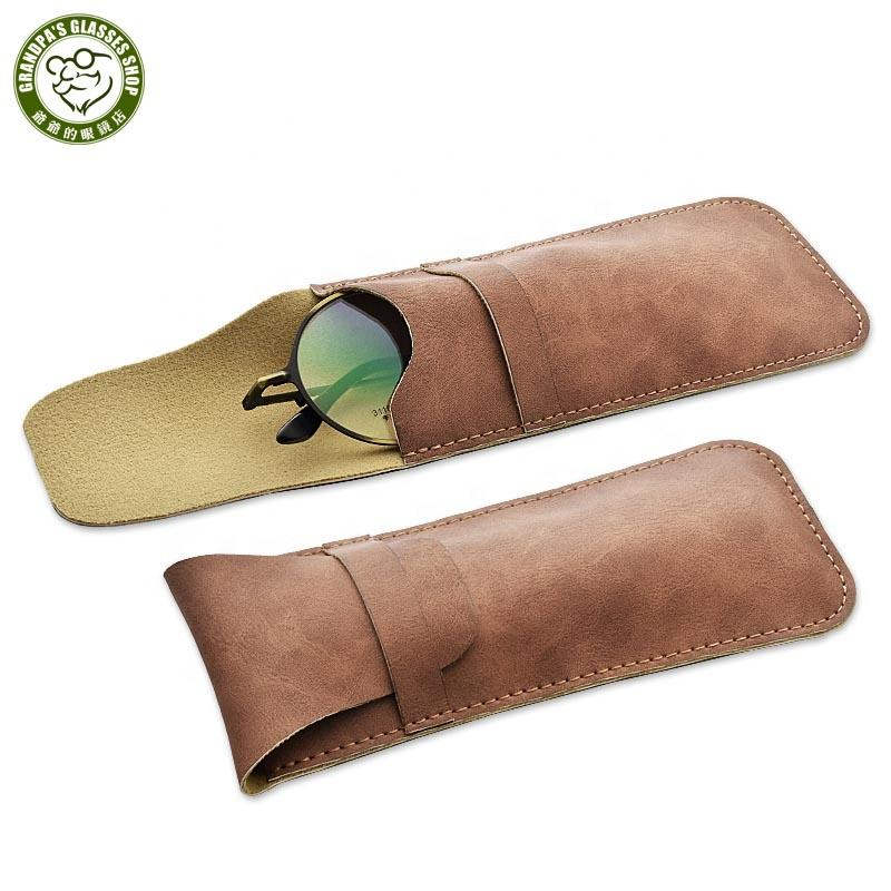 High Quality Simple Handmade PU Leather glasses cases Women and men fashion sunglasses soft pouch portable glasses storage bag