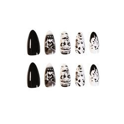 24 pieces long pointed nails dark style false nails artificial nails