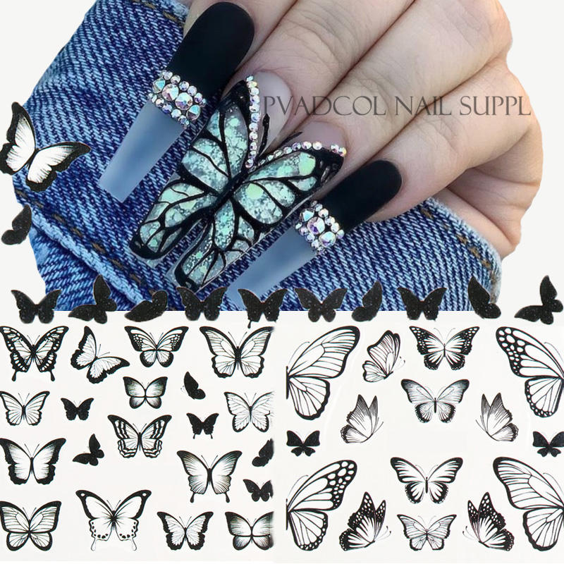 Nail Art Decalques <span class=keywords><strong>de</strong></span> Transferência Foils Preto Design Dica Wraps Sliders DecorationButterfly Manicure <span class=keywords><strong>Acrílico</strong></span> Nail Stickers