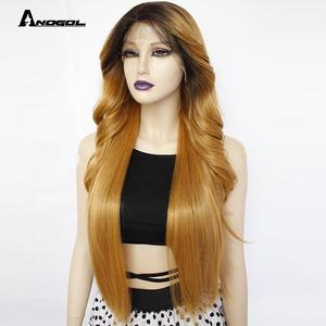Anogol Brown Ombre Dark Roots Lace Front Wigs with baby hair Pre Plucked for Women Long Body Wave Straight Wig