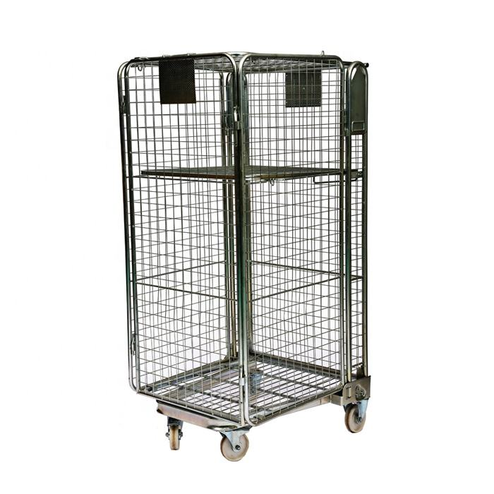 4 sided A frame warehouse customized foldable nesting full security metal wire mesh rolling cage for supermarket