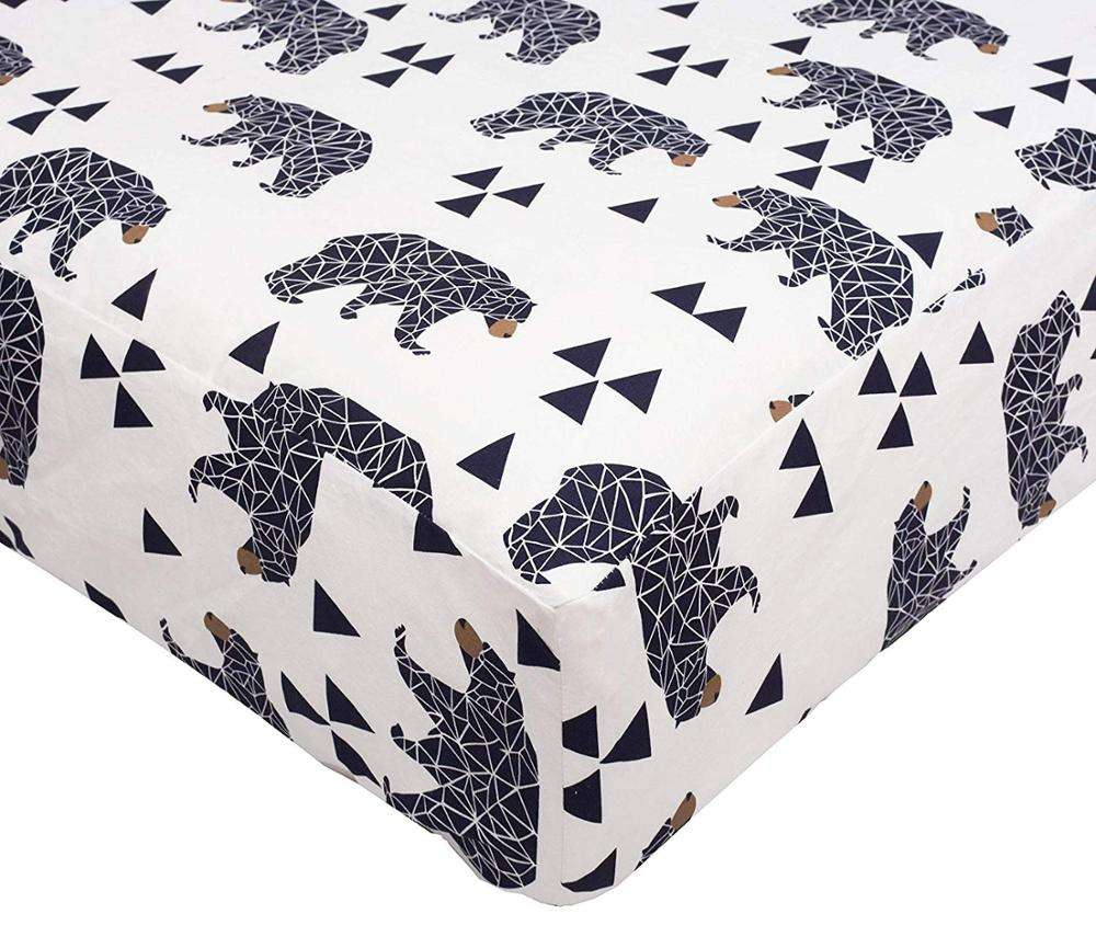 100% Cotton Printed Fitted Crib Kids Bedding Sheet