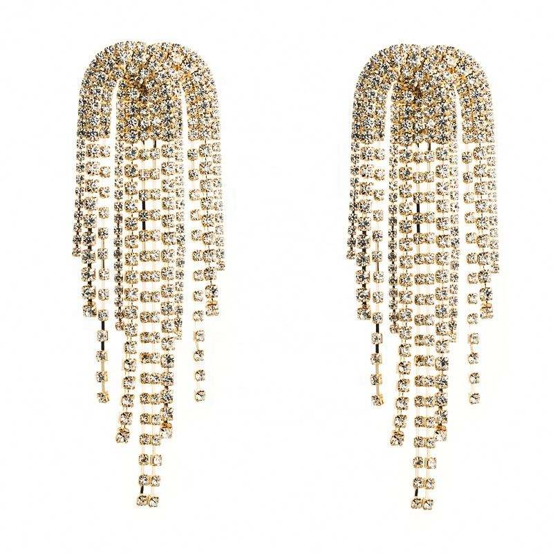 Fashion Jewelry Luxury Rhinestone Heart Stud Earrings Shiny Crystal Tassel Long Earrings For Women
