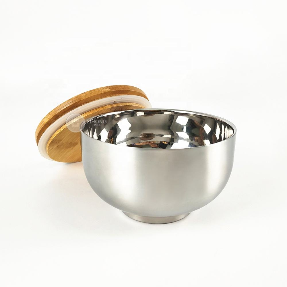 Wholesale Vacuum Insulated Double Wall Skin Mixing Soup Noodle Bowl Stainless Steel Happy Rice Bowl with Lid