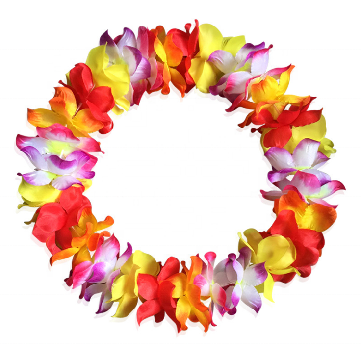 KarlNiko 41'' Large Size Hawaiian Ruffled Simulated Silk Flower Leis Necklace for Party Favor and Hula Hawaiian Dance