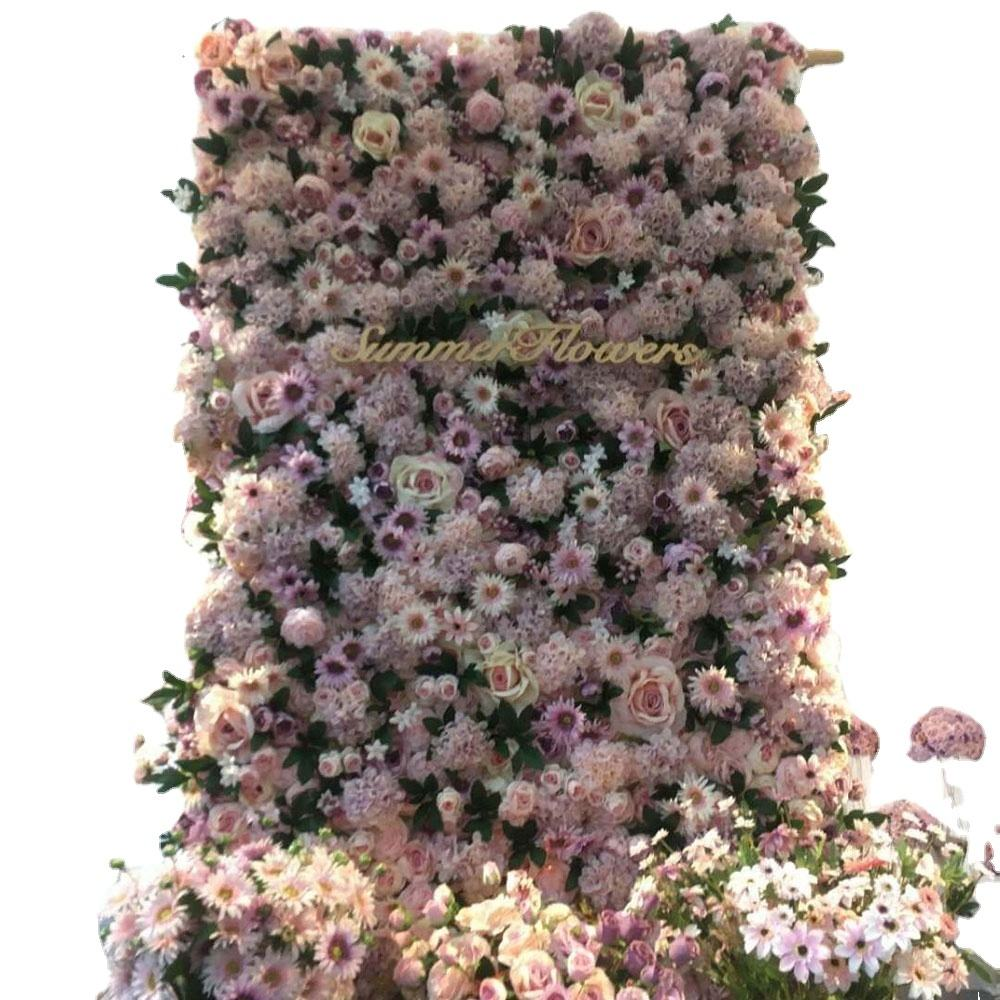 3D effect roll up wedding decoration artificial silk coth rose flower wall panel backdrop