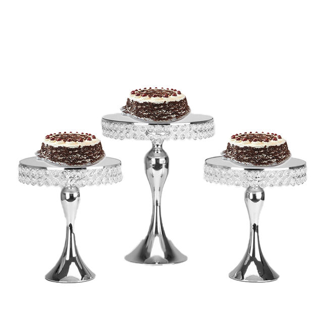 Mirror Cake Stand Crystal Cupcake Mirror Cake Stand Set Silver Color Display Sweet Cake Stand Decoration