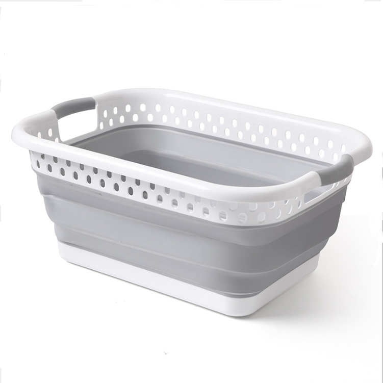 Silicone washing Basket Laundry Carrying Round Bucket Foldable collapsible basket plastic