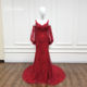 special occasions sequin beaded lace V neck mermaid formal red ladies long evening party gown with detachable sleeves