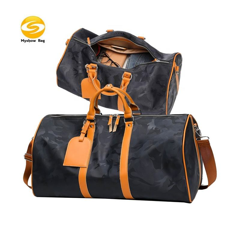 2020 new design light weight camo nylon duffel bags,waterproof fitness gym bag with leather handles outdoor sports bags for men