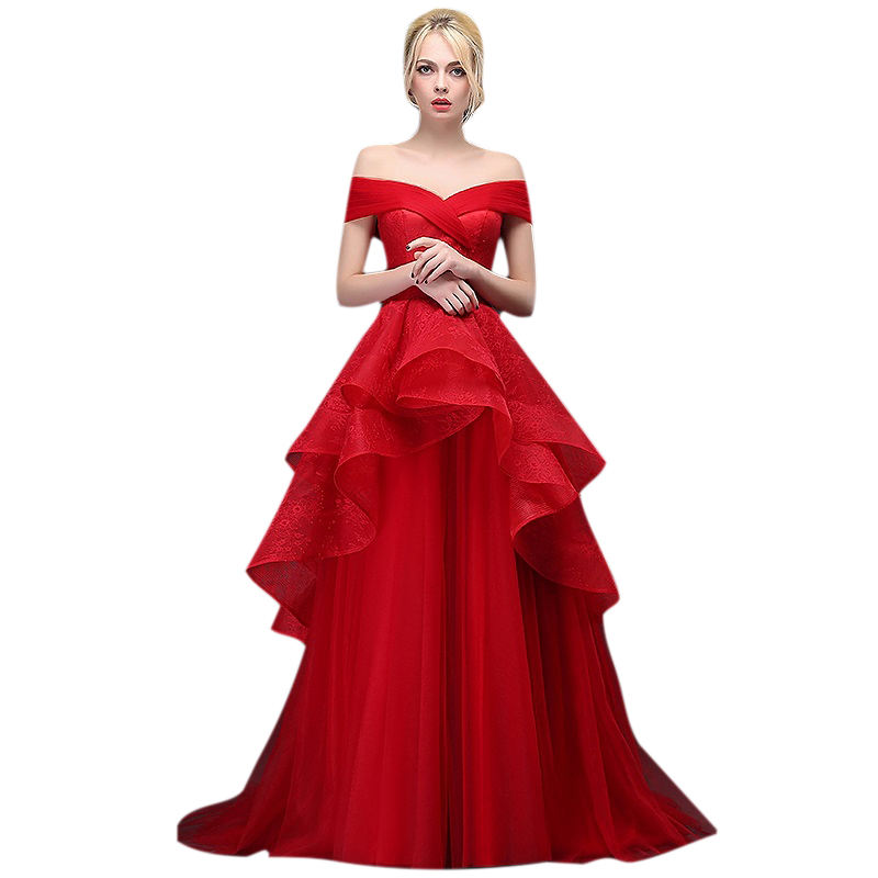 A line off shoulder sleeveless red lace backless long tiered prom dress prom gowns