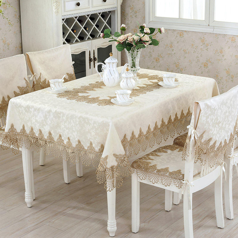 High Quality Table Cloth Cover, Embroidery Lace Brown Tablecloth/