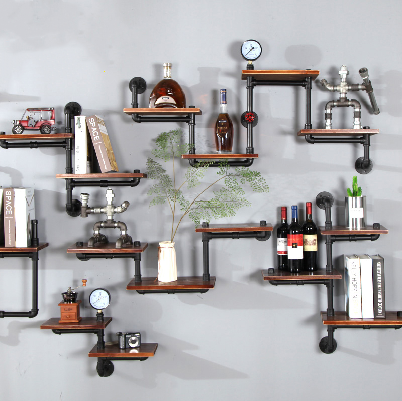 Antique industrial pipe simple home living room bookcase bookshelf decorating corner metal iron diy floating wall mounted shelf