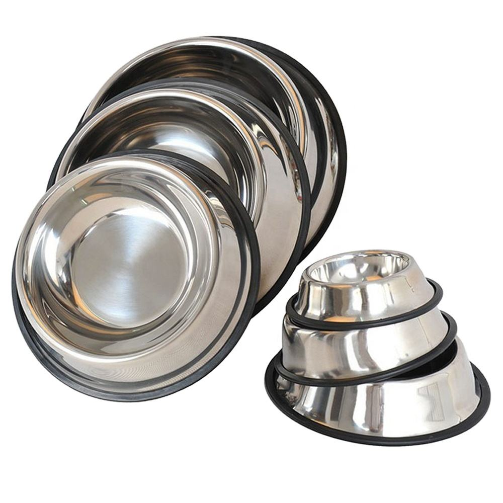 Wholesale nonslip dog bowl/pet bowl /cat bowl with rubber base Stainless Steel Pet food drinking bowl Dish
