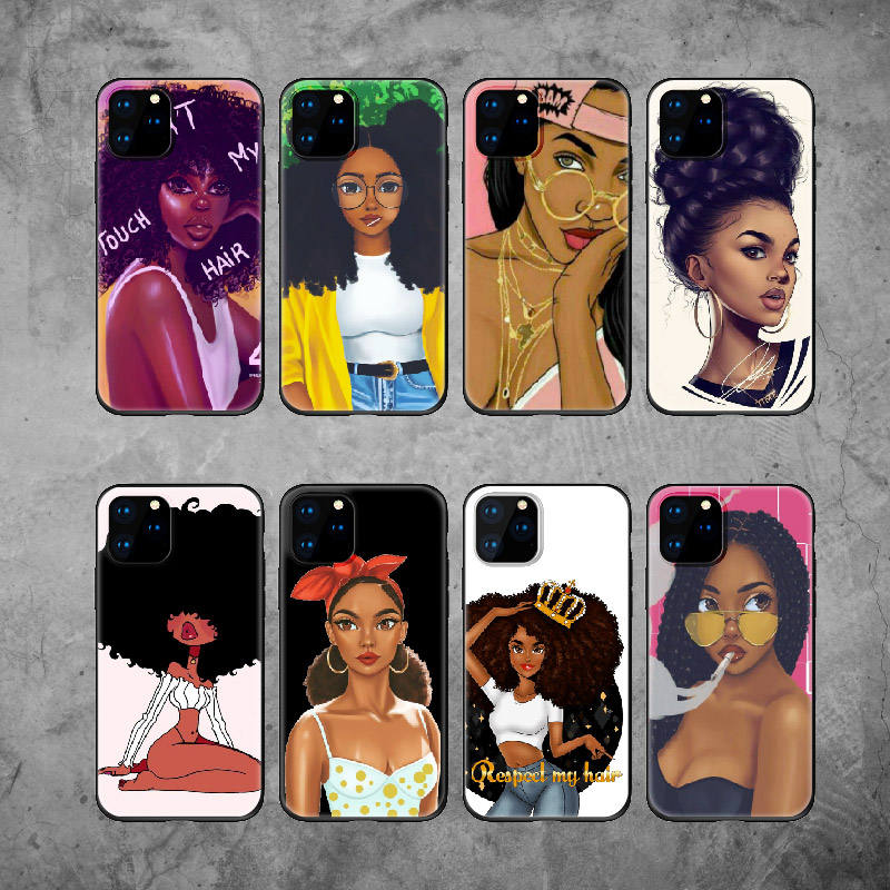 Poppin Melanin Black GIrl Aba Fashion Soft Bumper Phone Case For iPhone 12 11 Pro 6 5S 8 8Plus X XS Max 7 7Plus XR