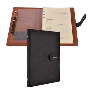 A5 Black Refillable Business Agenda Magnet Leather Journal Ring Binder Notebook