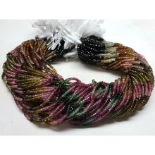 4mm Natural multi tourmaline feceted rondelle beads strands with 12.5 inches long length