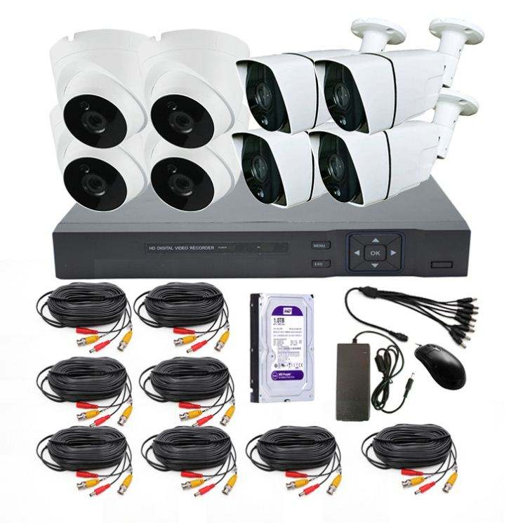 5MP 8CH Malam Visi AHD DVR CCTV Kit Keamanan DVR dengan 8 Pcs 5mp Indoor/Outdoor AHD Kamera CCTV sistem
