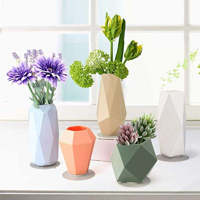 Silicone Vase Silicone Flower Vase Plant Flower Pot with Strong Suction Cup Flower Vase