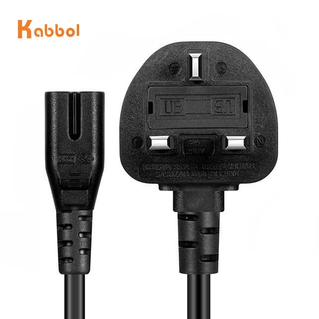 British and UK fused BS1363 power cord plug to IEC 320 C7 figure 8 mains lead cable with England ASTA approval