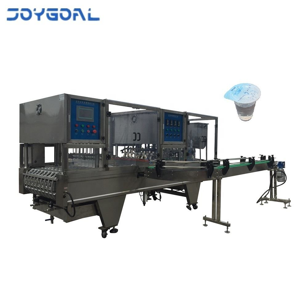 Automatic cup washing and filling sealing machine with conveyor belt for yogurt wine milk liquid fruit ice juice mineral water