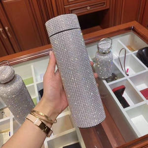 500ml Fashion Rhinestone Stainless Steel Water Bottle Thermos Mug With Smart Temperature Display Lid gold Silver Gift Cup women