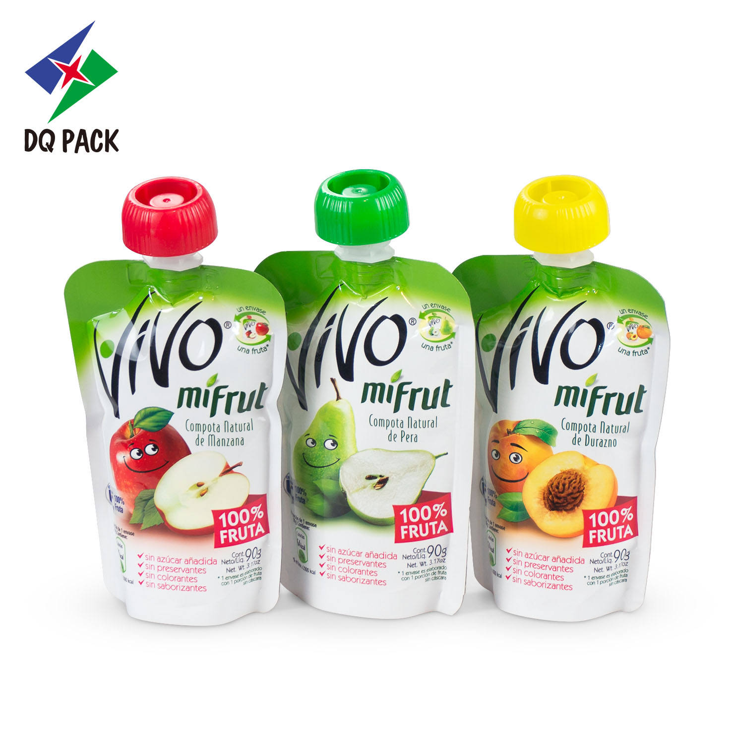 Packaging Spout DQ PACK Baby Complementary Food Spout Pouch With Anti-chop Cap- Juice Baby Plastic Cap- Packaging Drink Packaging