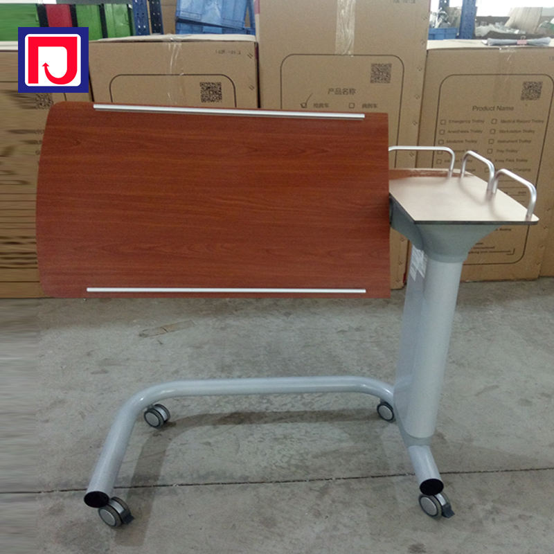 Moving smooth adjustable hospital overbed storage table