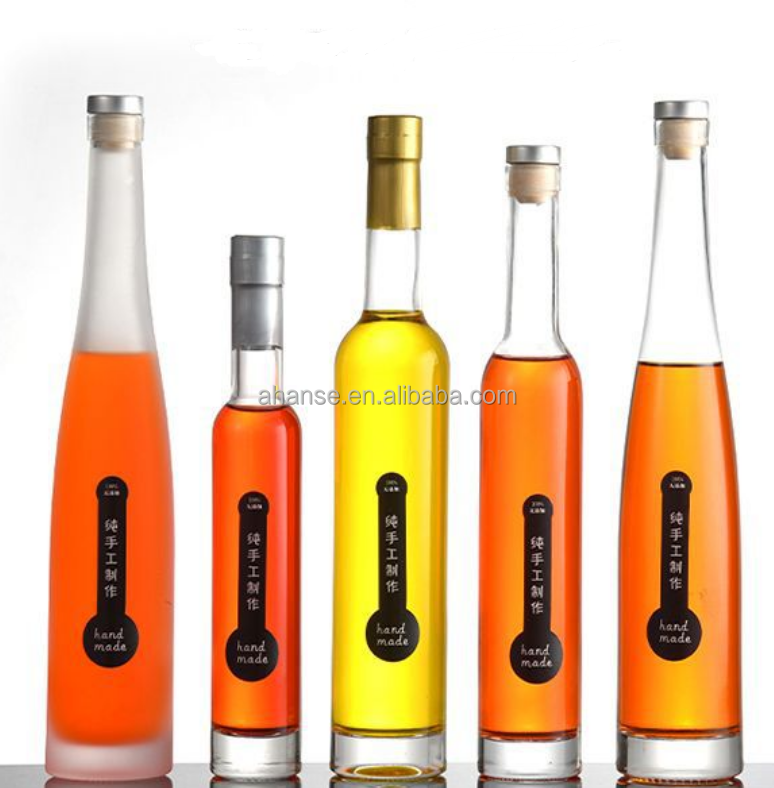In stock 250ml 375ml 500ml 750ml long neck tall glass liquor bottle with custom logo and cork cap for vodka spirit wholesale