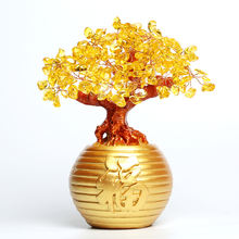 Wholesale Ntaural Charming order Christmas Mini Sized Fortune Wealth Quartz Crystal Citrine Trees