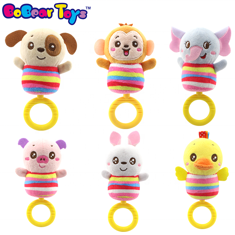 BobearToys soft cute animal rattle bell baby rattle teether toy set