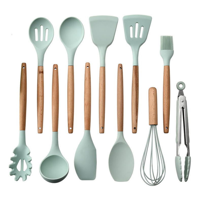 customize logo 8 colors 12 pcs green bamboo professional heat resistant cooking set silicone kitchen utensils set manufacturer