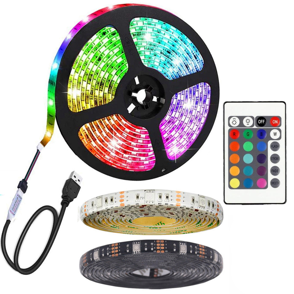 Alto Brilho 1M 2M 3M 4M 5M 5050 DC5V IP65 Flexível RGB Backlight TV kit tira de luz usb led com controle remoto de 24 teclas, ir
