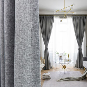 Wholesale factory direct blackout Linen look cheap window curtains