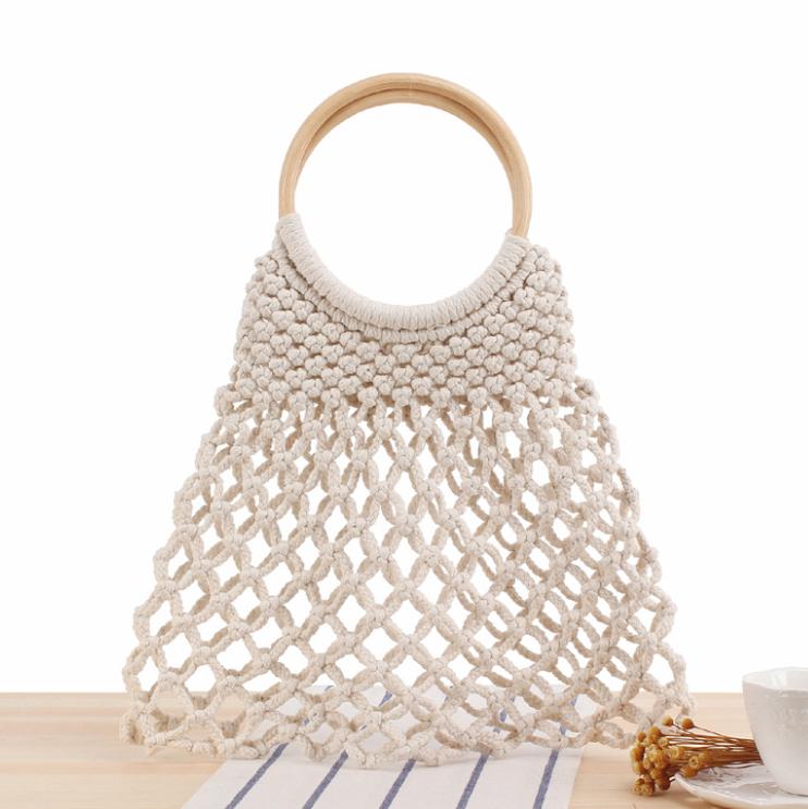 NEW Handmade Macrame Tote White Bohemian Bag Summer Bag Women Woven Bag Boho Bag