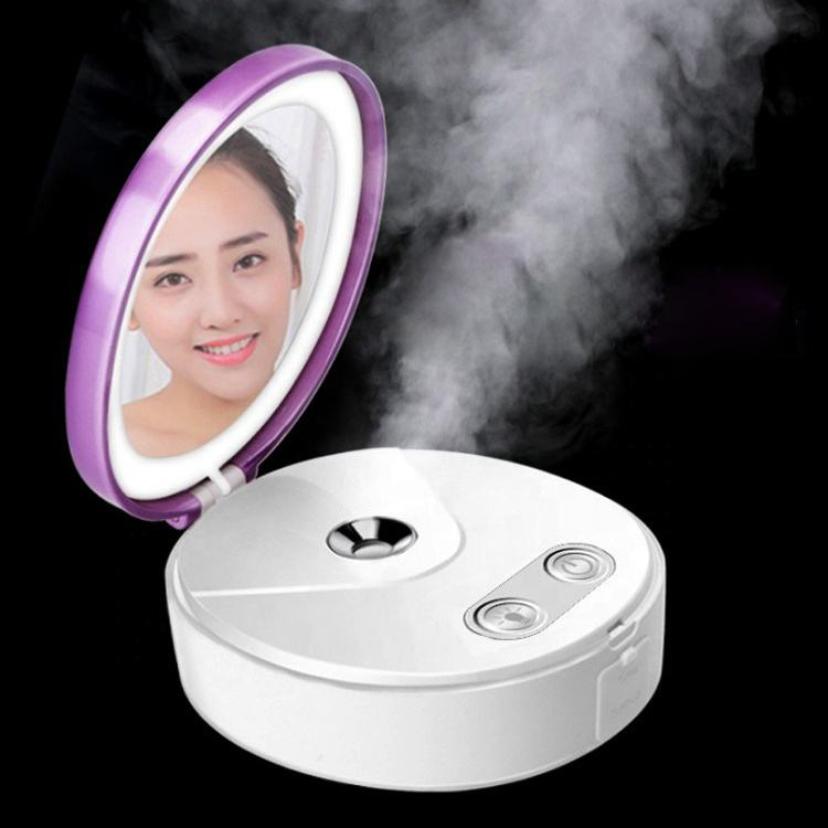 makeup smart flip cover mirror case led lighted spray mist humidifier Cosmetic mirror led mirror nano sprayer