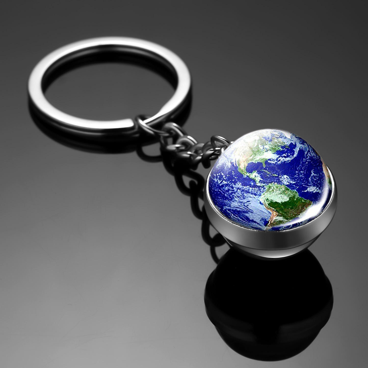Charm New Moon Earth Mars Girl Women Gifts Double Side Glass Ball Solar System Planet Men Keychain