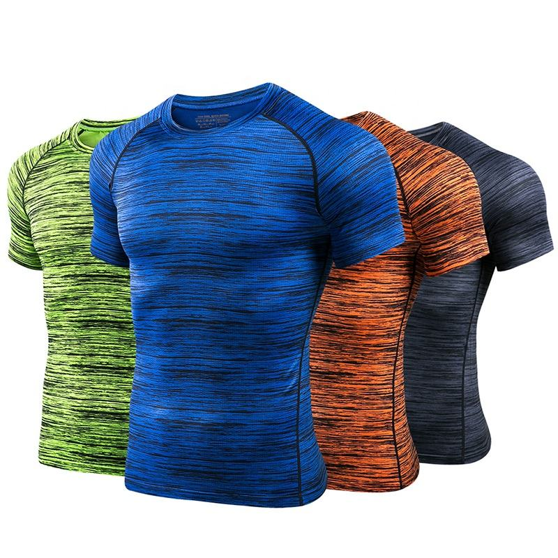 Mens Quick Dry Tee Shirt Sport Gym Fitness Training Bodybuilding Heather Tshirt Printing Custom t Shirt