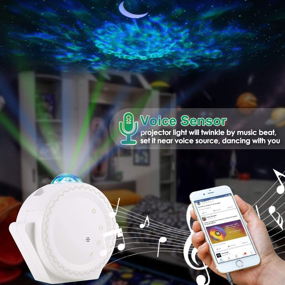 Star Projector, 3-in-1 LED Night Light Projector with Moon Star Nebula Cloud Touch&Voice Control Sky LED Projector Lights