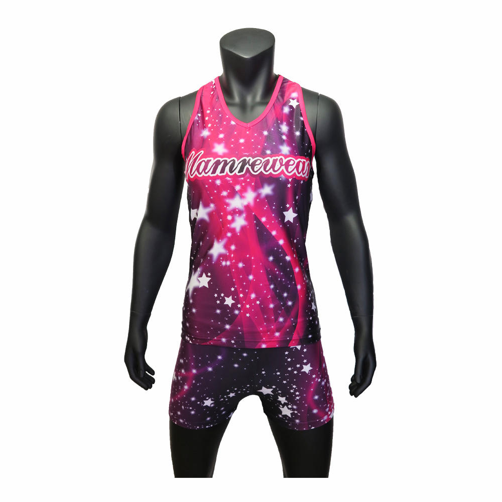 Mamre high quality sublimation cheerleading full length tank top of cheerleaing uniforms,star sexy cheer short and tank top
