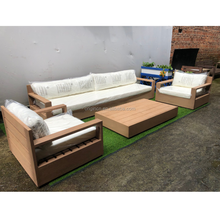 All weather outside patio sitting luxury teak furniture set popular wood outdoor sofa