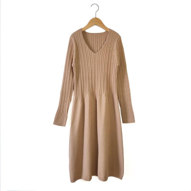 Factory Direct Sale V-Neck A-Line Long Sleeve Midi Knitted Sweater Dress Women