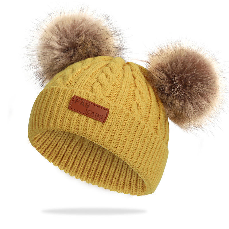 Infant Toddler Baby Knitting Woolen Hat Warm Winter Pure Color Double Pom Pom Boys Girls Beanie Cap Kids Winter Hats