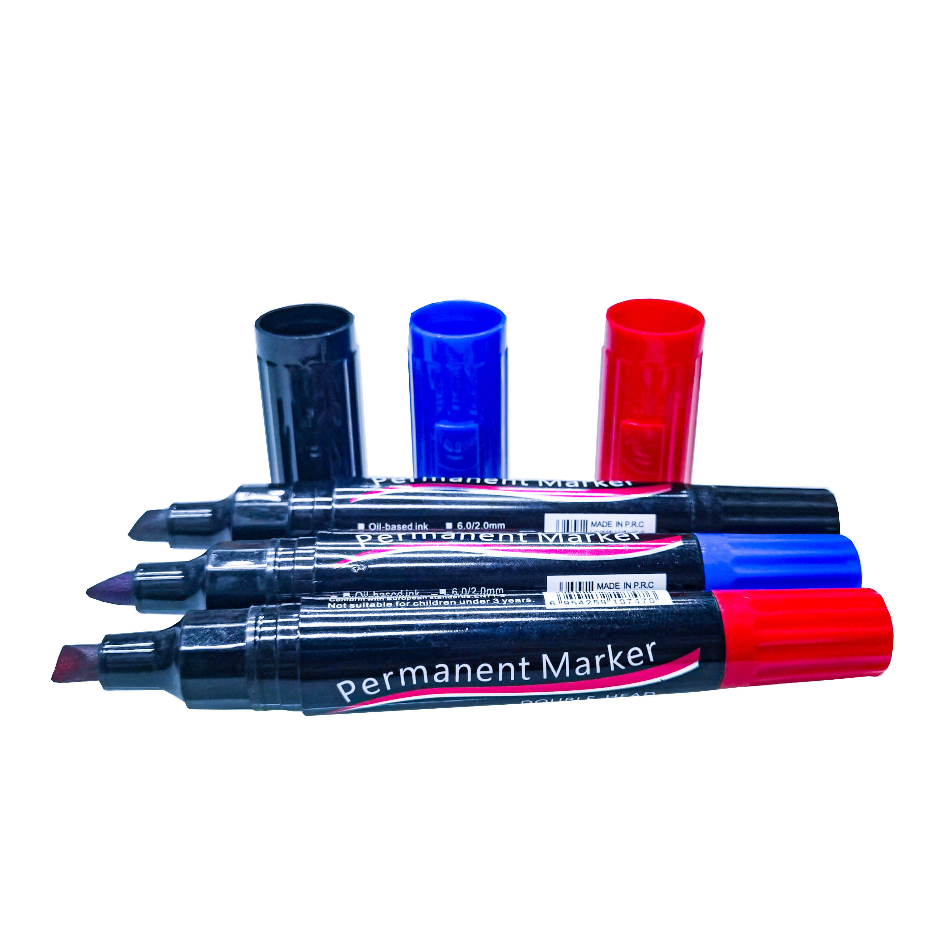 3 colors permenant marker pen waterproof marker 5mm dia plastic acrylic pens double-ended marker