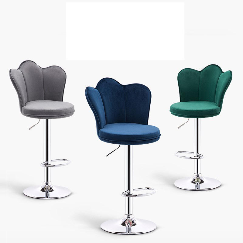 Commercial furniture modern bar stools chairs for bar counter leather bar chair for nightclub velvet spun chair