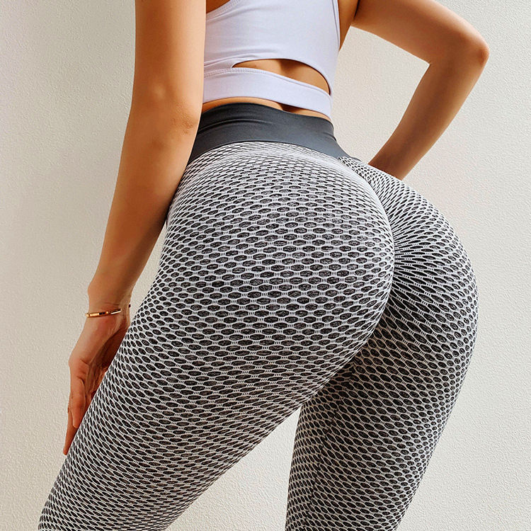 Sexy High waist Elastic Bodycon Honeycomb Shape Sports legging Butt Lift Active Pant Fitness Leggings Squat Proof Leggings